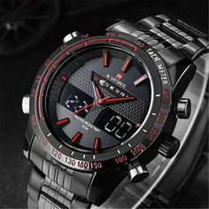 Waterproof Men's Watch Stainless Steel Band Date Analog Quartz Sport Wrist Watch Sport Watches, Cool Watches, Watches For Men, Casual Watches, Led Watch, Swiss Army Watches, Watch Sale, Digital Watch, Casio Watch