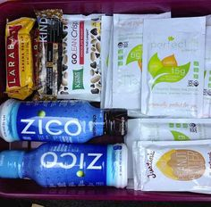 Do you have a trip coming up? Love this Tone It Up Nutrition Plan 'travel pack' from our girl Steph! Such a great idea ~ My car kit! Zico, kind bars, larabars, peanut butter, and of course, tons of Perfect Fit Protein protein!!!
