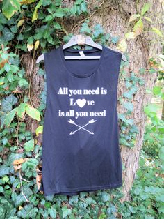 All you need is LOVE is all you need black muscle tank!