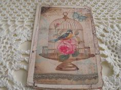 Shabby Chic Cards Birdcage  Pastel Pink Rose French Bird by mslizz, $5.00