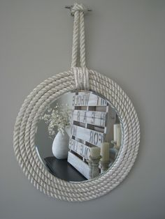 I love nautical decor. Nautical rope is an excellent way to incorporate natural fiber into your home decor. All decorations with nautical inspired sisal rope are so cute and they can give a special charm to your home. Check out these fantastic diy decora Nautical Home Decorating, Coastal Decor, Decorating Your Home, Diy Home Decor, Decorating Ideas, Coastal Living, Coastal Furniture, Decorating Mirrors, Beach Furniture