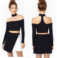 Sexy Strap Neck Long Sleeves T Shirt