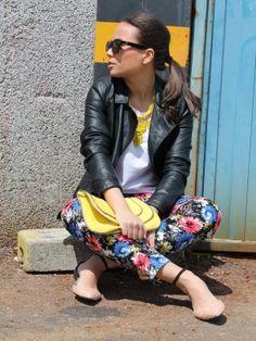 mondaytofriday Outfit  funny rocker  Primavera 2012. Combinar Chaqueta-Cazadora Negra Zara, Joyas-Bisutería Amarilla Zara, Bolso Amarillo H