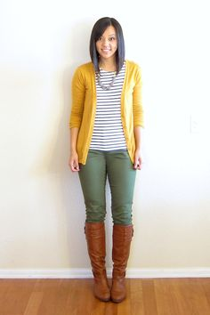 Mustard Yellow Cardigan and Black striped shirt with Olive Pants and Nuetral Brown boots. Thanks for the great idea you look great Yellow Cardigan Outfits, Mustard Yellow Cardigan, Mustard Pants, Olive Skinnies, Olive Green Pants, Green Jeans, Olive Shorts, Fall Winter Outfits, Autumn Winter Fashion