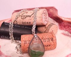 Green ombre sea glass necklace