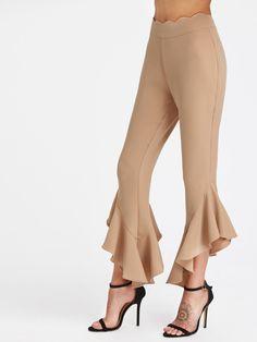 Scallop Waistband Asymmetric Frill Hem Pants -SheIn(Sheinside)