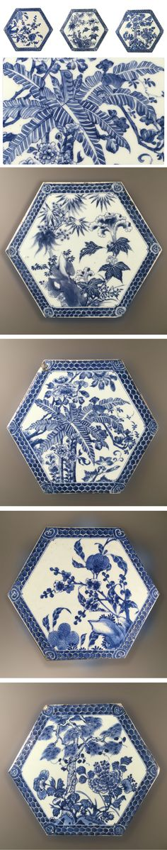 Four Chinese blue and white hexagonal Kangxi porcelain tiles, 18th century; each decorated with flowers and fruits. The rim decorated with honeycomb interspersed with ruyi-heads at the corners - Dim: 26cm wide, 2cm thick.