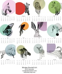 2013 animal calendar. $18,00, via Etsy.