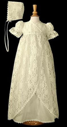 Girls Victorian Vintage Ivory Lace Jacketed Christening Baptism Cotton Gown