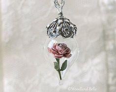Classic Red Rose Flower Terrarium Glass Vial by WoodlandBelle
