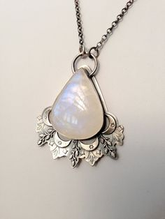 Moonflower Pendant Necklace, Silver Rainbow Moonstone Pendant, Hand Stamped Silver Necklace with Bezel Set Stone, Gift for Her by EONDesignJewelry on Etsy https://www.etsy.com/listing/249264277/moonflower-pendant-necklace-silver