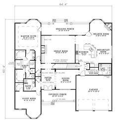 First Floor Plan of Craftsman   House Plan 82154 ---  a little big, but is love my library in that room with the bay window