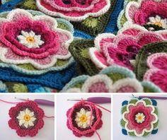 """CTejidas [Crochet y Dos Agujas]: Tutorial #81: """"Flower Grannys"""" para usar en Mantas..."""