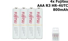 4x Fujitsu AAA R3 HR-4UTC 800mAh Rechargeable Batteries NK028 GB