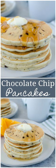 Chocolate Chip Pancakes - the perfect weekend breakfast! Fluffy buttermilk pancakes filled with mini chocolate chips. Best Breakfast Recipes, Breakfast Bake, How To Make Breakfast, Freeze Pancakes, Pancakes And Waffles, Chocolate Chip Pancakes, Mini Chocolate Chips, Meal Recipes, Real Food Recipes