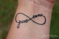 Not really a tattoo person, but I do like the simple infinity design of this one and the use of your children's names in it