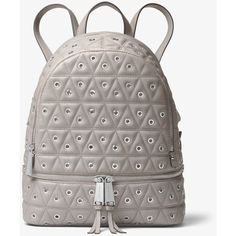 MICHAEL Michael Kors MICHAEL Michael Kors Rhea Grommeted Leather... ($179) ❤ liked on Polyvore featuring bags, backpacks, grey, backpack bags, leather backpacks, decorating bags, day pack rucksack and day pack backpack