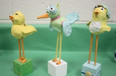 These adorable sculptures were made from air dry clay, skewers and wooden blocks.