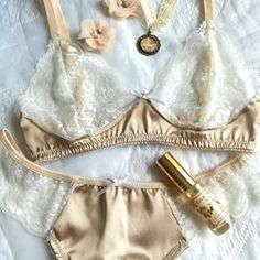 This would be the perfectly lightweight lingerie set to wear, when it's so hot outside (and inside). Plus, it will make you look hot too! 😉 Sandstone bra and thongs in our Etsy -shop. Satin Lingerie, Lingerie Set, Rose Perfume, Thongs, Marie Antoinette, White Lace, Bikinis, Swimwear, The Outsiders