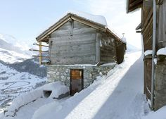 Old barn hides a contemporary larch-lined holiday home in the Swiss Alps