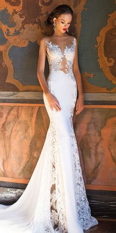 Wedding Gown Wedding Dress by Milla Nova White Desire 2017 Bridal Collection - Lorena - Milla Nova' 2017 Bridal Collection, a truly the most amazing lineup of stop-you-in-your-tracks bridal gowns and wedding dresses for the sophisticated bride. Dream Wedding Dresses, Bridal Dresses, Wedding Gowns, Lace Wedding, Bridesmaid Dresses, Mermaid Wedding, Trendy Wedding, Elegant Wedding, Fantasy Wedding