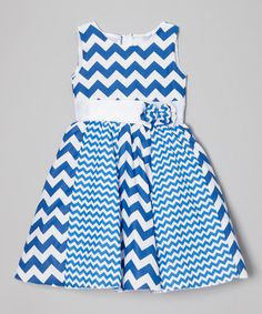 Blue & White Dual Zigzag A-line Dress - Infant, Toddler & Girls