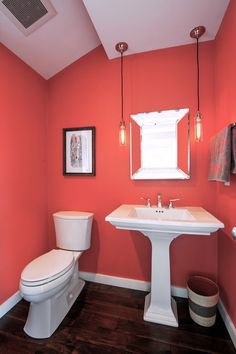 modern powder room with hardwood floors  powder room New Dining Room Looks Dining Room Designs and Plans