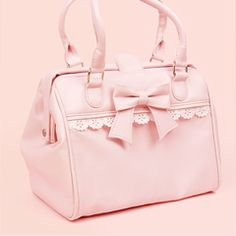 Dual Strap Lace Boston Bag - Pink