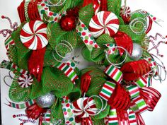 Peppermint Candy Deco Mesh Christmas Wreath by ArtificialWreaths, $95.00
