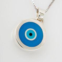 Greek Evil Eye Pendant silver 975 Turquoise and blue Enamel