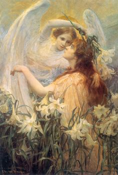 George Hillyard Swinstead (British painter) 1860 - 1926 The Angel's Message, s.d. oil on canvas 91.4 x 66 cm. (36 x 26 in.) private collection  Painter in oil and watercolour of genre, portraits and landscapes.