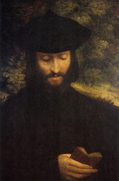 """Antonio Allegri da Correggio 1522 """"Ritratto di uomo con libro"""" Portrait of a man with a book"""