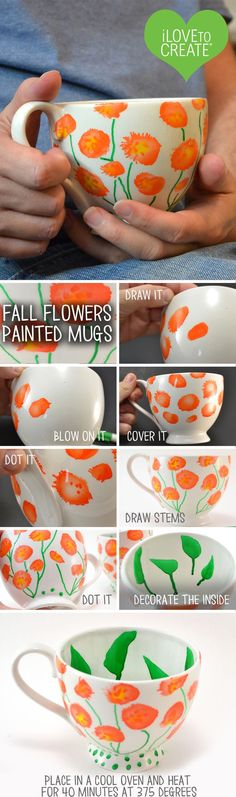@allisongm  shares how to make these pretty mugs using PaintedByMe Markers and Mugs. These mugs and markers when used together are dishwasher, microwave, and completely food safe! That's why you can draw around the rim and insides too!: