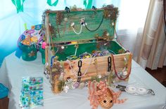 Treasure Chest filled with loot for kid's loot bags for a Mermaid Themed Birthday Party