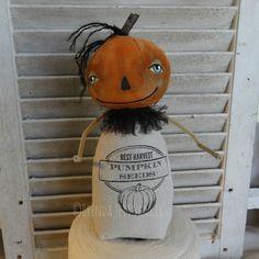 Brenda Sanker of Sanker Studios Maker of Primitive Folk Art Dolls and Crafts Primitive Pumpkin, Primitive Folk Art, Primitive Crafts, Primitive Autumn, Halloween Doll, Fall Halloween, Primitive Doll Patterns, Fall Sewing, Monster Dolls