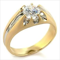 1ct Solitaire Mans Two Tone Ring Platinum and Gold Plated Cubic Zirconia