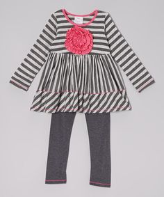 Gray & Charcoal Stripe Rosette Tunic & Leggings - Toddler & Girls   Daily deals for moms, babies and kids