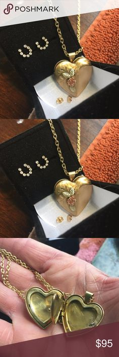 "14c VNTG Gold/Rose   Heart Locket The locket was purchased at an estate sale. It has rose gold in the flower as well. It is stamped it's old so it's a little worn in places but still in superior shape. Holds 3to 4 pics.!!!!! 12k GF chain 20"". Jewelry Necklaces"