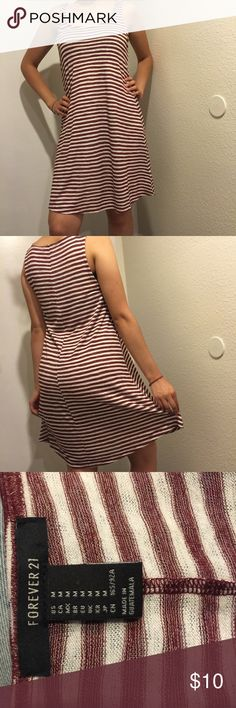 Forever 21 Striped Summer Dress •Forever 21 striped off white and maroon dress •Size: Medium  •Material: 62% Rayon and 38% Polyester  •Perfect summer dress! Forever 21 Dresses