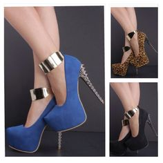 SEXY!!!!! I'd get the black ones! NUBUCK FAUX LEATHER SPIKY ANKLE STRAP PUMPS $45.00