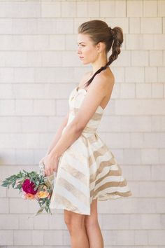 Kate McDonald Bridal Nancy Little White Dress // Kat Harris Photography // Styling by True Events & Beth Chapman // Flowers by Hana Floral Design