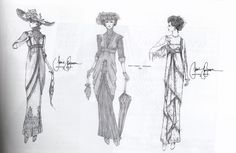 Jean-Pierre DorlŽac's sketches for Jane Seymour's costumes in Somewhere in Time, 1980