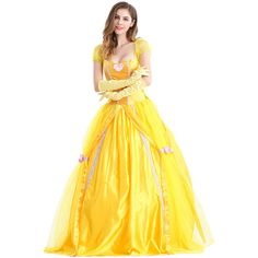 Womens Bow Back Belle Princess Maxi Halloween Costume Yellow ($55) ❤ liked on Polyvore featuring costumes, yellow, sexy princess costumes, womens halloween costumes, womens princess costume, belle costume and womens costumes