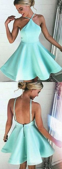 Casual Short Homecoming Dresses,A-line Party Gowns, Halter Satin Short Cocktail Dresses, Blue Graduation Dresses,Ruffles Backless Prom Dresses
