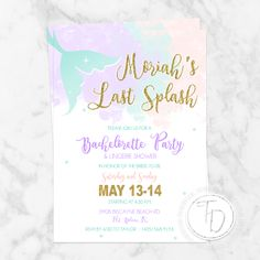 Mermaid bachelorette party invitation by Trusner Designs on Etsy