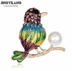 Color enamel glazed pearl bird branch brooch for women