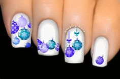 Blue Baubles CHRISTMAS Nail Water Transfer Decal Sticker Xmas Tattoo