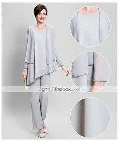 Silver Mother of the Brides Groom Dresses with Jacket Chiffon Pants Suit Plus  Size Wedding Women Outfits dd08106f2258