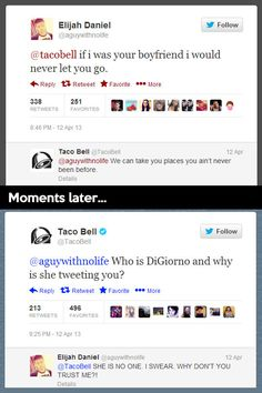 FunnyAnd offers the best funny pictures, memes, comics, quotes, jokes like - Taco Bell is social media person Look Here, Look At You, Taco Bell Twitter, My Tumblr, Tumblr Funny, Haha, Funny Quotes, Funny Memes, Hilarious Jokes