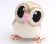 Barn Owl Needle Felted Owl in soft Browns With by feltmeupdesigns